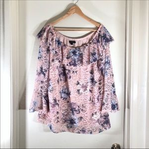 Lane Bryant floral lace bell sleeve top 18/20